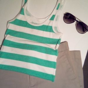 Lilu Green and White Stripes Ribbed Tank